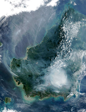 Satellite image of the island of Borneo on Aug...