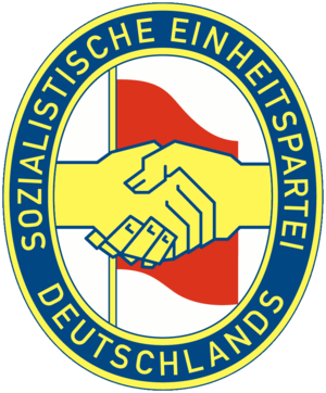 Logo of the Socialist Unity Party of Germany, ...