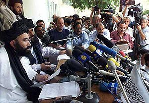 Taliban press conference in Pakistan after the...