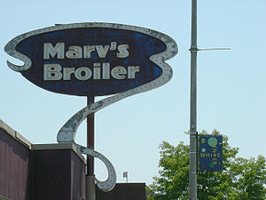 Marv's Broiler, a bar and grill in a former fa...