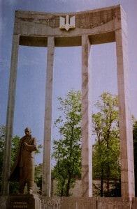 Das Bandera-Denkmal in Lwiw.