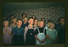 School children singing, Pie Town, New Mexico ...