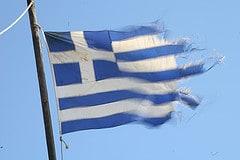 Worn Greek flag