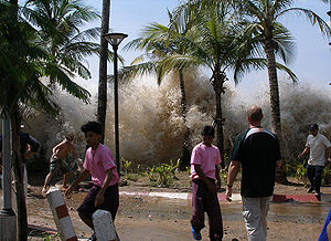 A picture of the 2004 tsunami in Ao Nang, Thai...
