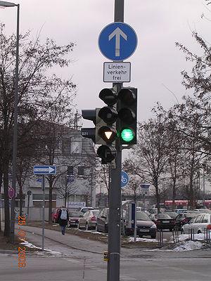 Traffic light in Munich, Germany, showing a sp...