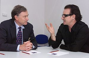 Paul David Hewson (Bono) talking to IMF Managi...