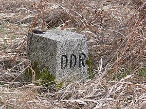 East German border marker at the Freilandmuseu...