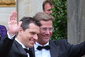 German politician Guido Westerwelle and his si...