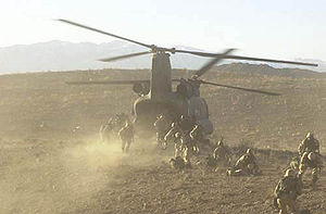 Soldiers board a Chinook in Operation Anaconda