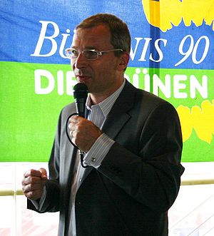 Volker Beck campaigning in Freiburg, Germany, ...