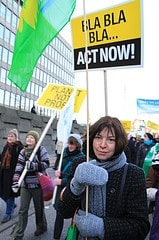 Rebecca Harms protesting pro Climate Save
