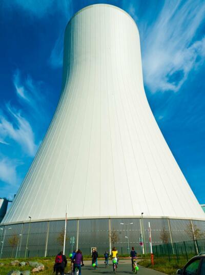Demonstranten am Kohlekraftwerk Walsum - Foto St. Meiners
