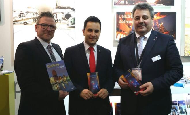 v. l. n. r.: Veit Lawrenz (Duisburg Kontor), Mahmut Özdemir (MdB für den WK 116 / Duisburg-Nord), Bruno Sagurna (Aufsichtsratsvorsitzender der Ruhr Tourismus GmbH und Ratsherr der Stadt Duisburg).