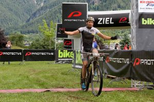 Finish Protective BIKE Four Peaks 2016 in Saalfelden, Stage 1 Leogang-Saalfelden, 58.59km, 1,886m - Winner Simon Stiebjahn (GER) © Oliver Kraus