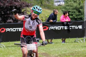 Finish Protective BIKE Four Peaks 2016 in Saalfelden, Stage 1 Leogang-Saalfelden, 58.59km, 1,886m - Women's winner Annette Griner (GER) © Oliver Kraus