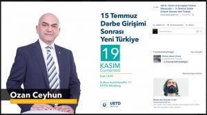 –Ozan Ceyhun Quelle: Screenshot Hüseyin Topel BU: Der Politiker Ozan Ceyhun tritt bei einer Veranstaltung der UETD in einer DITIB-Moschee auf.
